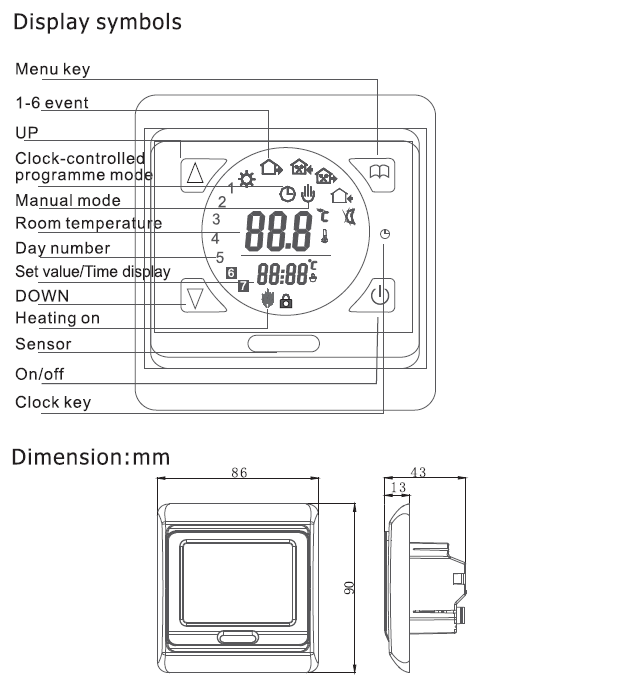 Touch Screen Heated Floor Thermostat Programmable 2VA Power Consumption