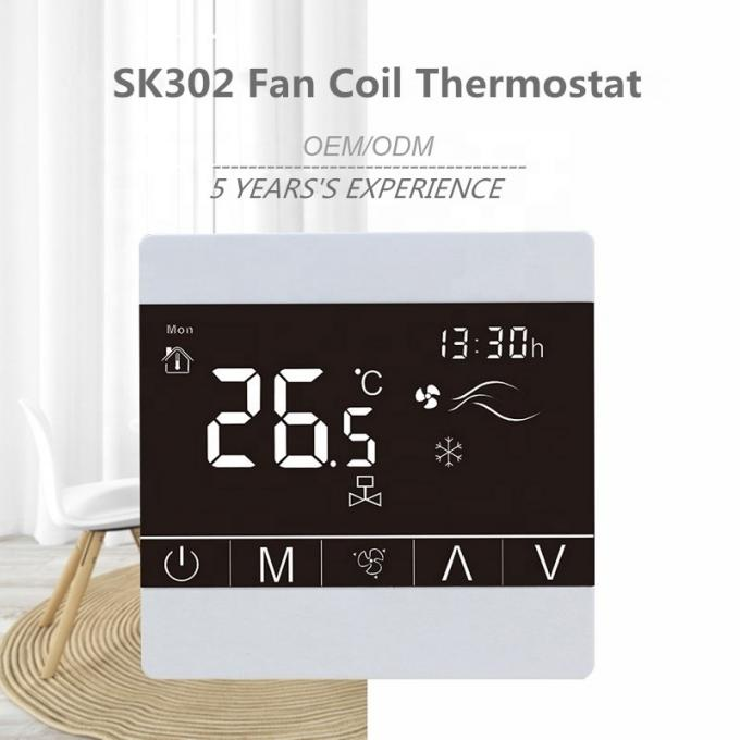 Programmable Fan Coil Touch Screen Thermostat With Large LCD Screen Display