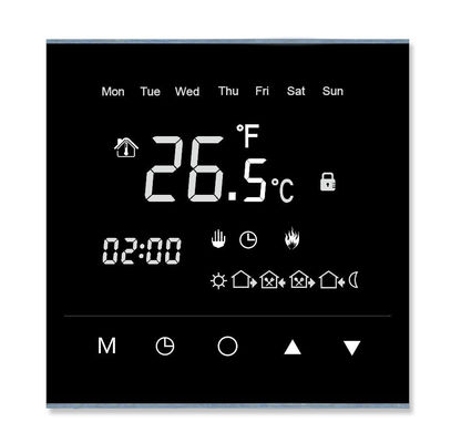 7- Days Programmable Touch Screen Room Thermostat Durable With Glass Panel