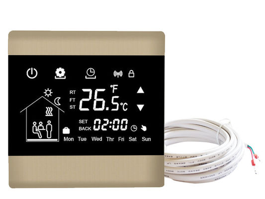 Electric Touchscreen Programmable Thermostat Floor Heating With Self - Extinguishing PC Housing