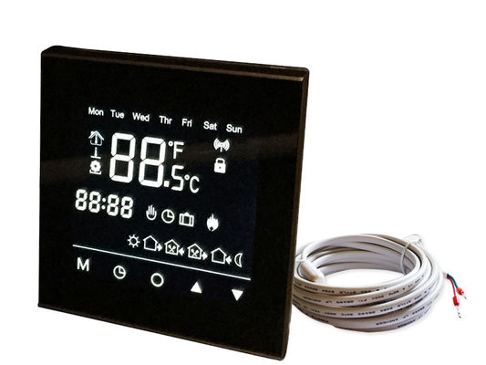 Black Panel Touch Screen Thermostat Mirror Surface For Electric Floor Heating