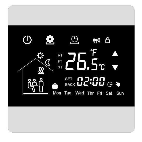 2 Watt Touch Screen Thermostat IP20 220/230VAC With Manual And Programme Mode