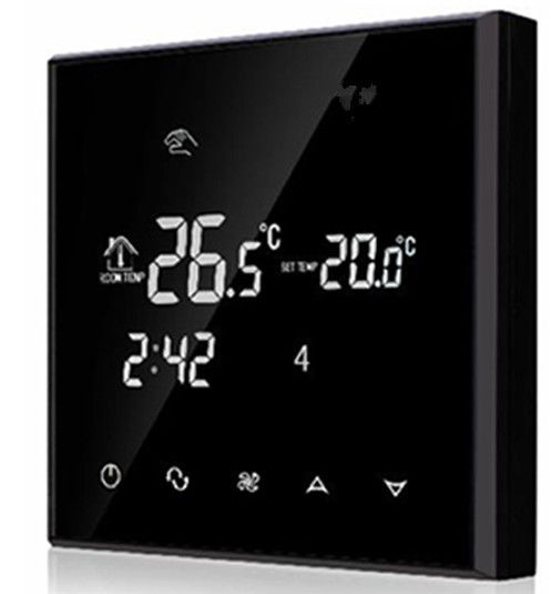 Heating / Cooling Touch Screen Room Thermostat NTC Sensor Black Color
