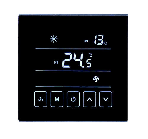 Black Touch Screen Digital Room Thermostat IP20 NTC Sensor 86*86*14mm Size