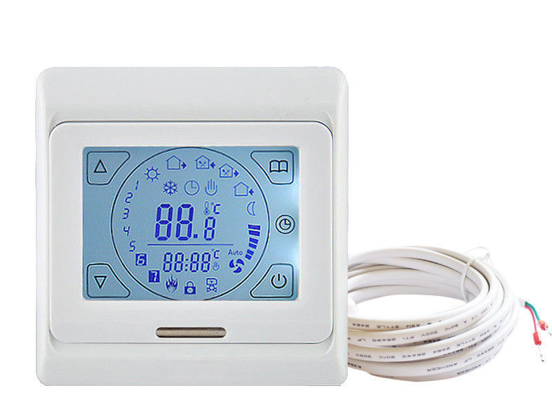 Digital White Wireless Central Heating Thermostat AC230V CE And ROHS