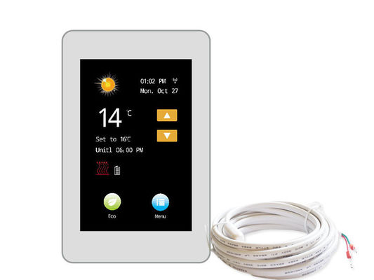 IP20 Touch Screen Underfloor Heating Thermostat 85-265V For Home , CE Standard